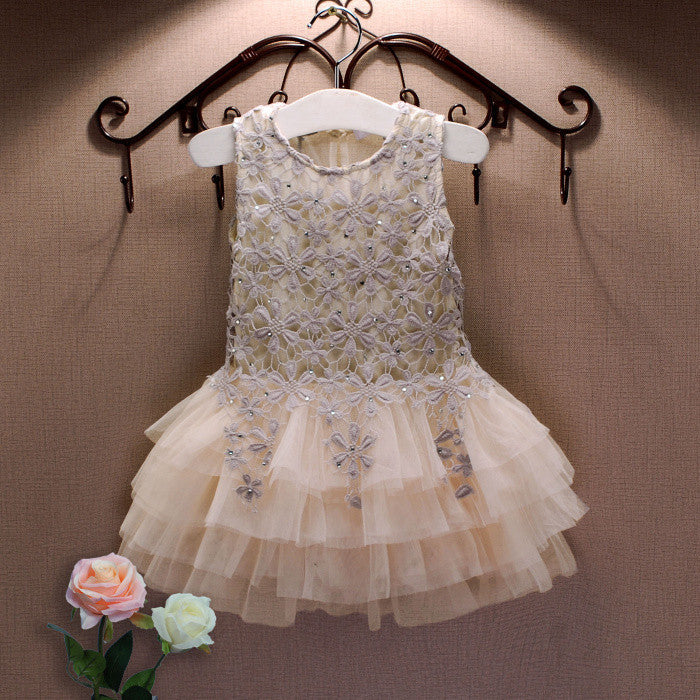 Summer New Lace Vest Girl Dress Baby Girl Princess Dress 3-7 Age Chlidren Clothes Kids Party Costume Ball Gown BeigeCELEBRITYSTYLEFASHION