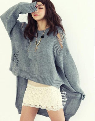 Sweaters Women Fashion O Neck Full Sleeve Asymmetrical Sweater Hollow Out Autumn Winter Very Loose Long Solid Women Sweater - CelebritystyleFashion.com.au online clothing shop australia