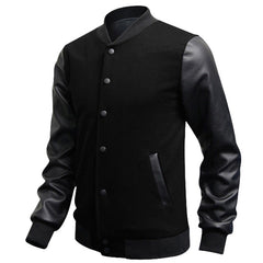 Slim Fit Fashion Casual Mens Coat Baseball Jackets PU Leather Sleeve Jacket Men Bomber Jackets And Coats - CelebritystyleFashion.com.au online clothing shop australia
