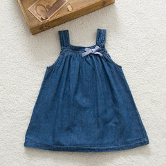 Summer Cute Blue Solid Bow Cowboy Dress Children Kids Girls Strap Jean Denim Knee-Length Dresses - CelebritystyleFashion.com.au online clothing shop australia