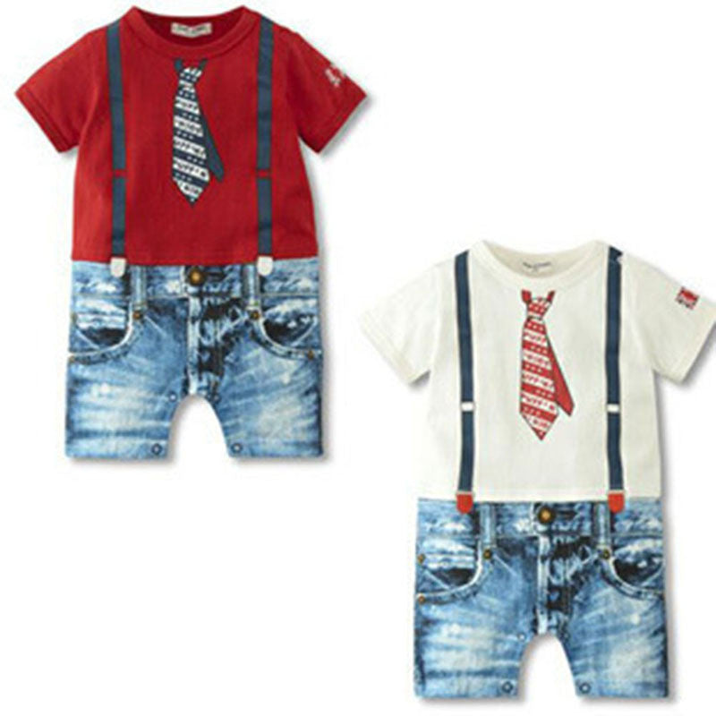 Red / 10-12 monthsCharm Infant Toddler Cozy Soft Romper Jumpsuit Set Kid Baby Clothing Boy Braces Suits