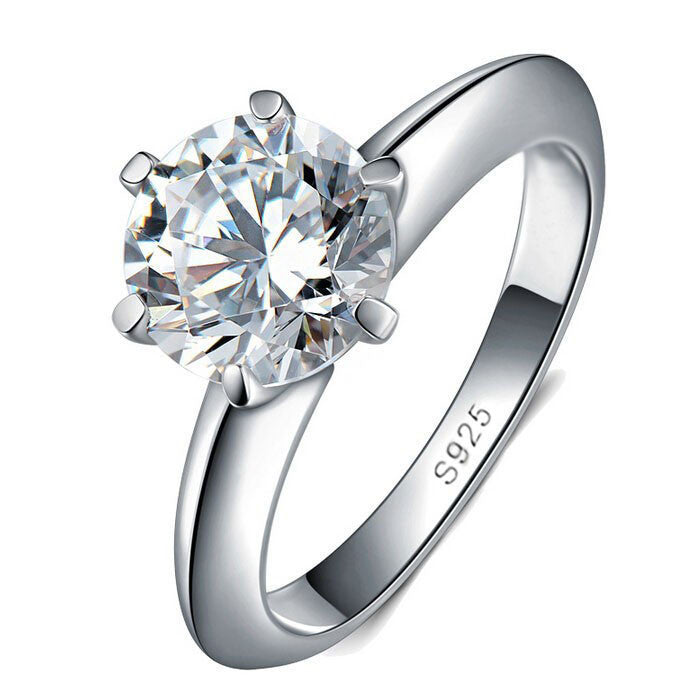 4100% Solid Silver Ring Set 1 Carat Sona CZ Diamond Engagement Ring Real 925 Sterling Silver Rings For Women JZR121