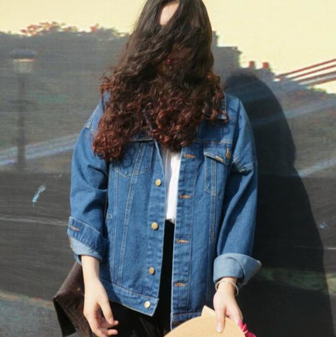 Autumn Winter Women Denim Jacket Vintage Harajuku Oversize Loose Female Jeans Coat Solid Slim Chaquetas Mujer - CelebritystyleFashion.com.au online clothing shop australia