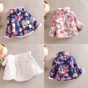 Baby Winter Girls Cotton Floral Coat Long Sleeve Jacket Thick Winter Warm Outerwear - CelebritystyleFashion.com.au online clothing shop australia