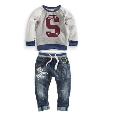children's clothing boys clothes long-sleeved letter hoodie sweater + jeans two sets of casual clothes - CelebritystyleFashion.com.au online clothing shop australia