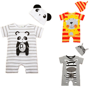 Newborn Baby Rompers Summer Baby Girls Clothes Cute Cartoon Animal Newborn Jumpsuits Ropa Bebes Baby Boy Clothing Set Romper+Hat - CelebritystyleFashion.com.au online clothing shop australia