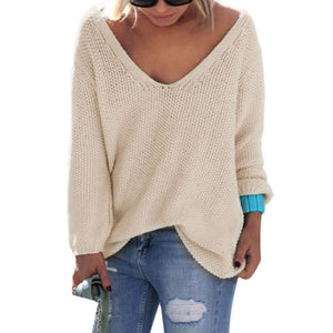 Womens Cute Elegant V Neck Loose Casual Knit Sweater Pullover Long Sleeve Spring Sweater Tops - CelebritystyleFashion.com.au online clothing shop australia