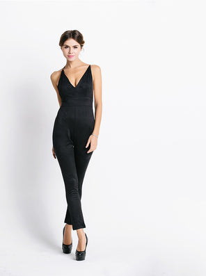 Free Shipping Missord 2015 Sexy deep v halter cross suede JUMPSUITS FT3604 - CelebritystyleFashion.com.au online clothing shop australia