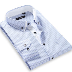 Autumn Men's Long-sleeved Plaid Striped Dress Shirts Double-collar Regular Fit Business Casual Button-down Shirt Work Wear - CelebritystyleFashion.com.au online clothing shop australia