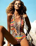 print cut out one piece swimwear high cut bandage one piece swimsuit sexy monokini retro print bathing suits - CelebritystyleFashion.com.au online clothing shop australia