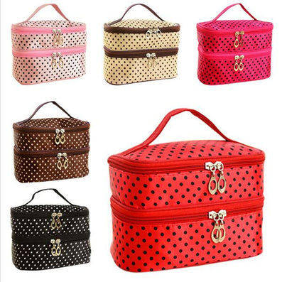 Fashion Double layer small dots cosmetic bag  makeup tool storage bag  multifunctional Storage package
