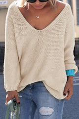 Womens Cute Elegant V Neck Loose Casual Knit Sweater Pullover Long Sleeve Spring Sweater Tops sueter mujer - CelebritystyleFashion.com.au online clothing shop australia