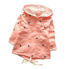Hooded Girls Coat 100% Cotton Jacket For Girls 1-4 Years Windbreaker KF101 - CelebritystyleFashion.com.au online clothing shop australia