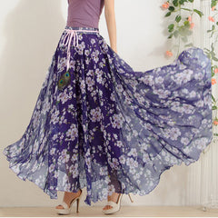Elegant Fancy Flower Print Skirt Long Women Fashion Peacock Feather Elastic Waist Ultra-long Big Bottom Full Chiffon Skirt - CelebritystyleFashion.com.au online clothing shop australia