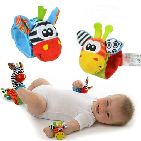 4Pcs(2Pcs Socks+2Pcs Wrists) New Infant Baby Kids Sock And Wrist Rattles Cute Intellectual Developmental Toys Animal - CelebritystyleFashion.com.au online clothing shop australia