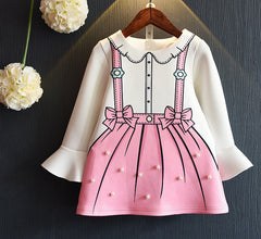 Girls Dress New Autumn Princess Dresses Children Clothing Flare Sleeve Bow Printing Design for Girls Clothes - CelebritystyleFashion.com.au online clothing shop australia