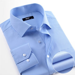 Striped no iron male shirt patchwork mens dress shirts long sleeve slim fit men clothing blue dress shirt size S-4XL - CelebritystyleFashion.com.au online clothing shop australia