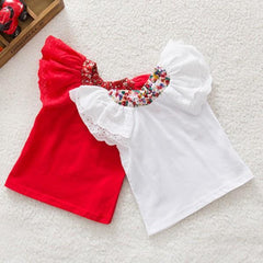 Summer Baby Girls Cute Floral Collar T-shirts Short Sleeve Tops Blouse Shirts - CelebritystyleFashion.com.au online clothing shop australia