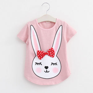 Baby T Shirts for girls Cotton Short Sleeve Rabbit cartoon Print Brand Tees Spring Kids cute Tops Girl T-shirt - CelebritystyleFashion.com.au online clothing shop australia