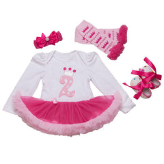 Infant Newborn Christmas Cute Kids Baby Girl Clothes 4Pcs Pink Minion Long-Sleeve Tutu Dress 1st Birthday Gifts Outfits New - CelebritystyleFashion.com.au online clothing shop australia