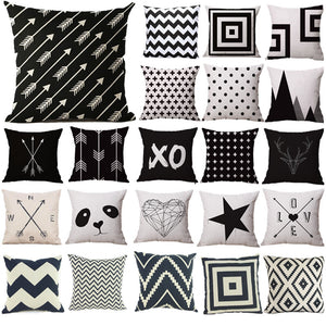 Pillow Case Black and White Pattern Pillowcase Cotton Linen Printed 18x18 Inches Geometry Euro Pillow Covers Free Shipping