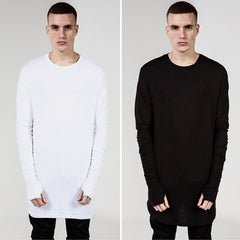 Thumb Hole Cuffs Long Sleeve Tyga Swag Style Mens Side Split Hip Hop Top Tee T Shirt Crew Wool T-shirt Men Clothes - CelebritystyleFashion.com.au online clothing shop australia