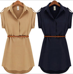 With Belt Women Summer Dress Shirt V-Neck Short A-Line Solid Plus Size Chiffon Casual Vestidos For Party Beach Office 8463 - CelebritystyleFashion.com.au online clothing shop australia