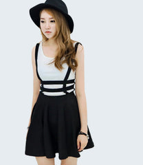 Preppy Style Suspender Skirts Women Girl Ruffles Skater Pleated Short Braces Skirt Back Zipper Hollow Out Skirt B2# 41 - CelebritystyleFashion.com.au online clothing shop australia