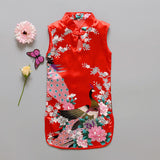 Fashion Chinese Style Flower Birds Cotton Children's Cloth Kids Qipao Dress Sleeveless Summer Girl's Dress - CelebritystyleFashion.com.au online clothing shop australia