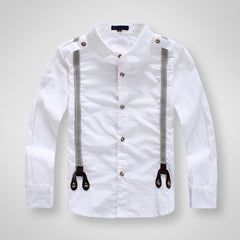 Children Boys Fashion Classic White Cotton Long sleeve Shirts for Kids Clothes boys Strap shirts - CelebritystyleFashion.com.au online clothing shop australia