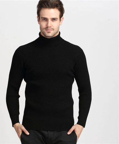 Winter Thick Warm 100% Cashmere Sweater Men Turtleneck Men Brand Mens Sweaters Slim Fit Pullover Men Knitwear Double collar - CelebritystyleFashion.com.au online clothing shop australia