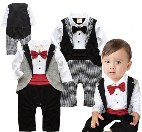 Baby tuxedo jumpsuit boy gentlemen bow tie rompers 2 colors long sleeve plaid jumpsuit wedding birthday party clothes - CelebritystyleFashion.com.au online clothing shop australia