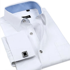 Striped Shirt Men New Mens Dress Shirt French Cuff Tailored Slim Fit Free Long Sleeve Shirt For Cufflinks Camisa - CelebritystyleFashion.com.au online clothing shop australia