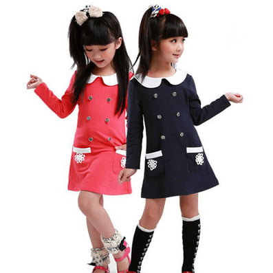 College spring style girls dress children long-sleeved dress lapel children clothing - CelebritystyleFashion.com.au online clothing shop australia