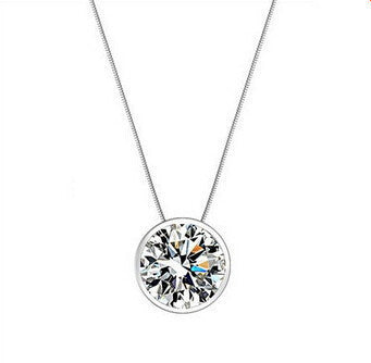 round design 925 solid sterling silver ladies pendant necklaces jewelry - CelebritystyleFashion.com.au online clothing shop australia