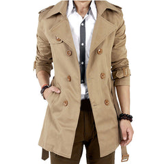 Trench Coat Men Classic Men's Double Breasted Trench Coat Masculino Mens Clothing Long Jackets & Coats British Style Overcoat - CelebritystyleFashion.com.au online clothing shop australia