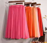 Fashion Women's Elegant 23 Color High Waist Chiffon Pleated Midi Skirt Ladies Casual Slim Beach Skater Skirts Saia SK17 - CelebritystyleFashion.com.au online clothing shop australia