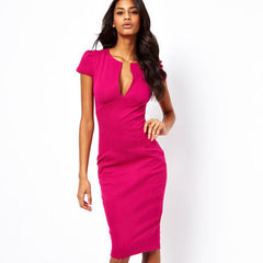 Summer Charming Sexy Pencil Dress Celebrity Style Fashion Pockets Knee-length Bodycon Slim Business Sheath Party Dress E521 - CelebritystyleFashion.com.au online clothing shop australia