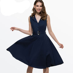 50s 60s Women Vintage Dresses Summer Elegant Dress Sleeveless Party Dresses dark blue style a line rockabilly dress - CelebritystyleFashion.com.au online clothing shop australia