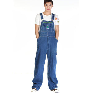 Men's casual loose green zipper bib overalls Male plus large size denim jumpsuits Huge pants - CelebritystyleFashion.com.au online clothing shop australia