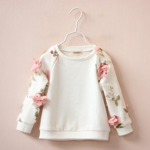 flower cotton stereo leisure hoodies baby girls round neck long sleeved turtleneck jacket - CelebritystyleFashion.com.au online clothing shop australia