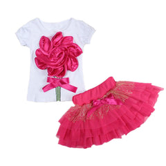 Casual clothing set 2 pieces T-shirts+short skirts with red flower outerwear and outdoor for girls new spring summer - CelebritystyleFashion.com.au online clothing shop australia