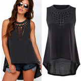 New Sexy Women Lady Girl Plus Size Hollow Sleeveless Swallowtail Shirt Casual Vest Blouse Tank Tops Gift - CelebritystyleFashion.com.au online clothing shop australia