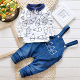 Baby Boys Clothing set Suit Overalls Gentleman long-sleeved shirt + pants 2pcs Denim jeans Kids - CelebritystyleFashion.com.au online clothing shop australia