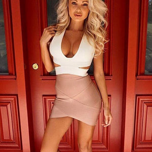 Women Sexy nude blue white Gold Silver Foil Celebrity Bandage Skirts Rayon Good Stretch Mini bodycon Pencil skirt - CelebritystyleFashion.com.au online clothing shop australia