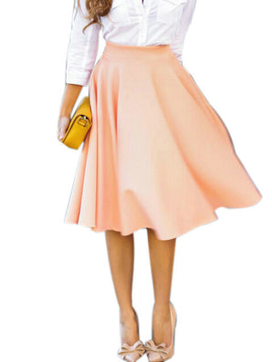 Women Perfect Peach Pink Pleats A-line Flared High Waist Midi Skater Skirt S-XL - CelebritystyleFashion.com.au online clothing shop australia