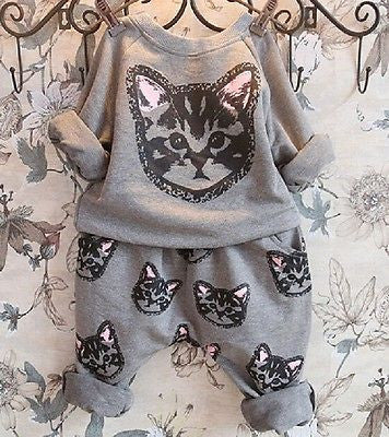 2pcs kids Girls Long Sleeve Cat Kitten Printed T-shirt Tops+Pants Sets Outfits Spring Autumn Clothing SetCELEBRITYSTYLEFASHION
