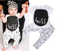 Newborn toddler baby boy clothing sets summer 2-piece outfits print t-shirt and pants black&white lovley boy clothes sets - CelebritystyleFashion.com.au online clothing shop australia