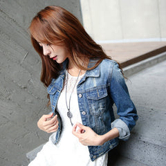 Women Jeans Jackets Short Tops Long Sleeve Denim Coat Vintage Ripped For Women Clothing chaquetas mujer - CelebritystyleFashion.com.au online clothing shop australia