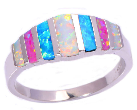 Pink Blue White Fire Opal 925 Silver Stamp Jewelry Ring For Women - CelebritystyleFashion.com.au online clothing shop australia
